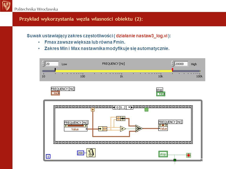 Przykład wykorzystania węzła własności obiektu (2): Suwak ustawiający zakres częstotliwości ( działanie nastaw3_log.vi ): Fmax zawsze większa lub równ
