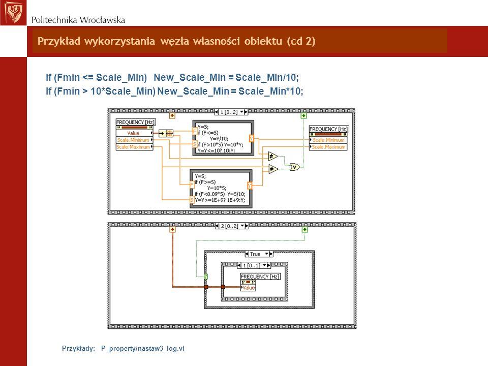 Przykład wykorzystania węzła własności obiektu (cd 2) If (Fmin <= Scale_Min) New_Scale_Min = Scale_Min/10; If (Fmin > 10*Scale_Min) New_Scale_Min = Sc