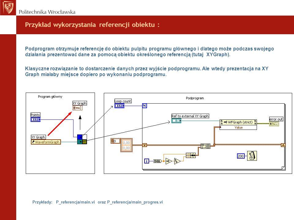 Przykład wykorzystania referencji obiektu : Podprogram otrzymuje referencję do obiektu pulpitu programu głównego i dlatego może podczas swojego działa
