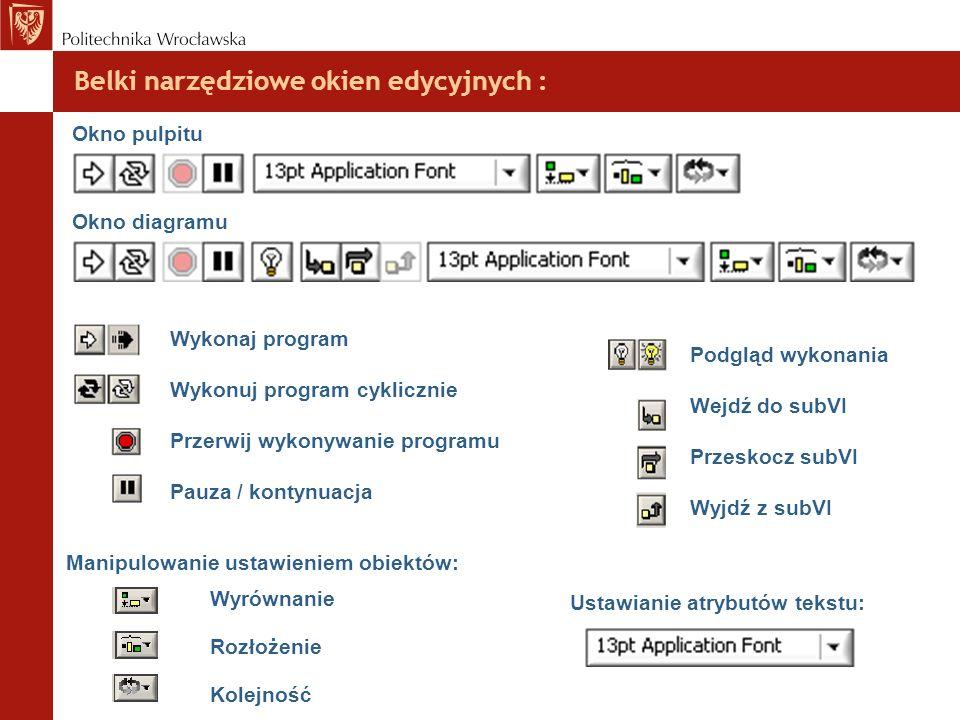 Belki narzędziowe okien edycyjnych : Okno pulpitu Okno diagramu Wykonaj program Wykonuj program cyklicznie Przerwij wykonywanie programu Pauza / konty