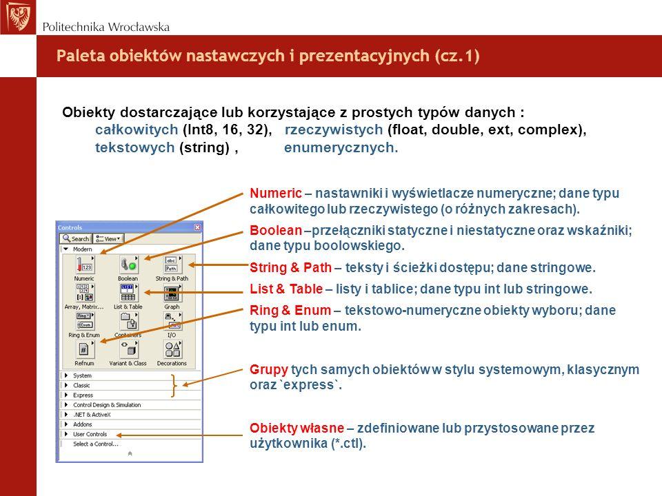 Paleta obiektów nastawczych i prezentacyjnych (cz.1) Obiekty dostarczające lub korzystające z prostych typów danych : całkowitych (Int8, 16, 32), rzec