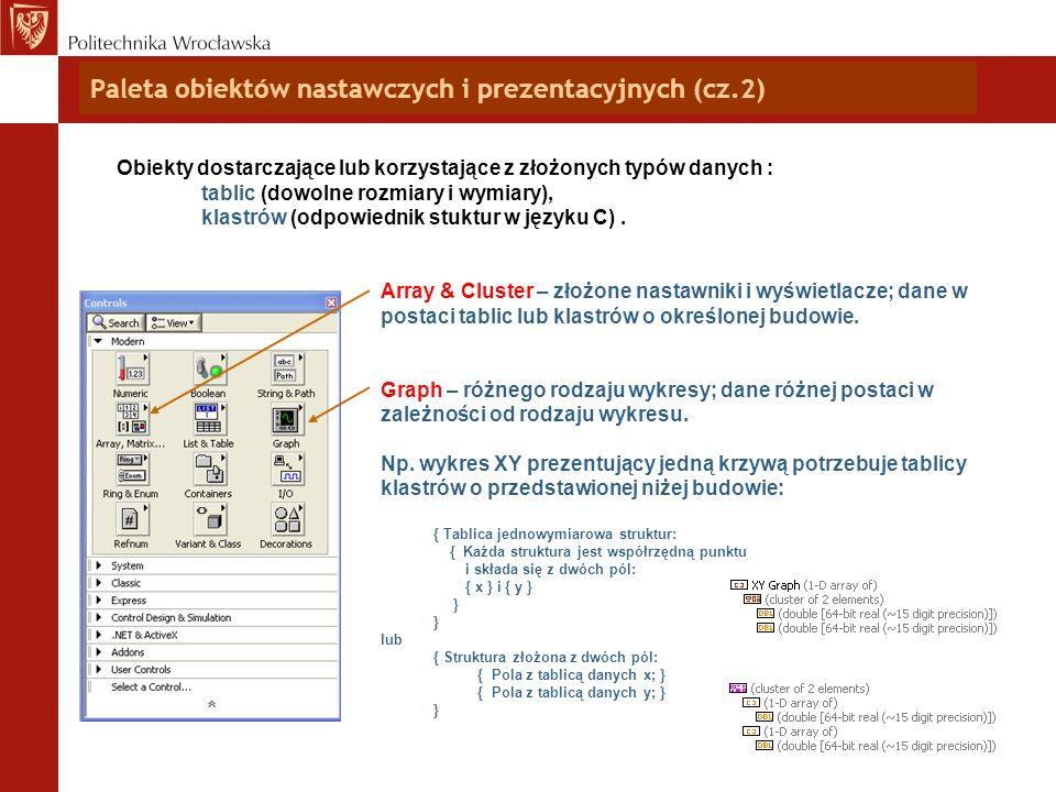Paleta obiektów nastawczych i prezentacyjnych (cz.2) Obiekty dostarczające lub korzystające z złożonych typów danych : tablic (dowolne rozmiary i wymi