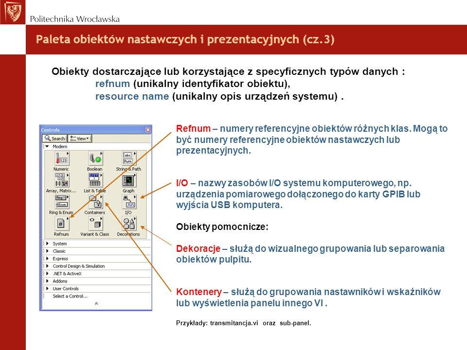 Paleta obiektów nastawczych i prezentacyjnych (cz.3) Obiekty dostarczające lub korzystające z specyficznych typów danych : refnum (unikalny identyfika