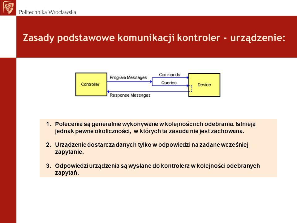 Zasady podstawowe komunikacji kontroler - urządzenie: 1.Polecenia są generalnie wykonywane w kolejności ich odebrania. Istnieją jednak pewne okoliczno