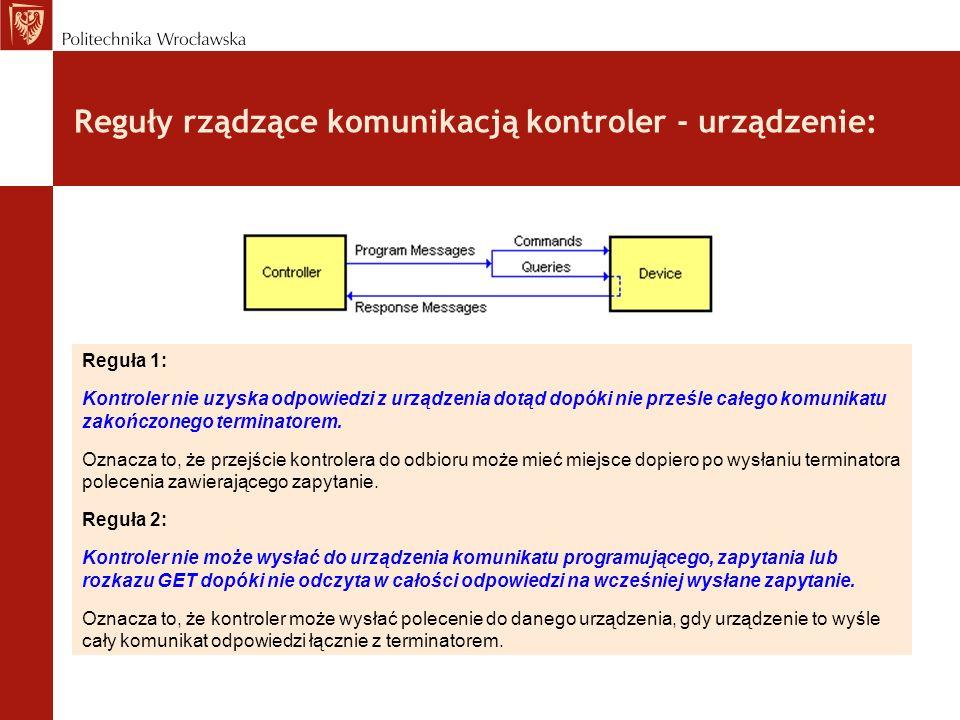 Reguły rządzące komunikacją kontroler - urządzenie: Reguła 1: Kontroler nie uzyska odpowiedzi z urządzenia dotąd dopóki nie prześle całego komunikatu