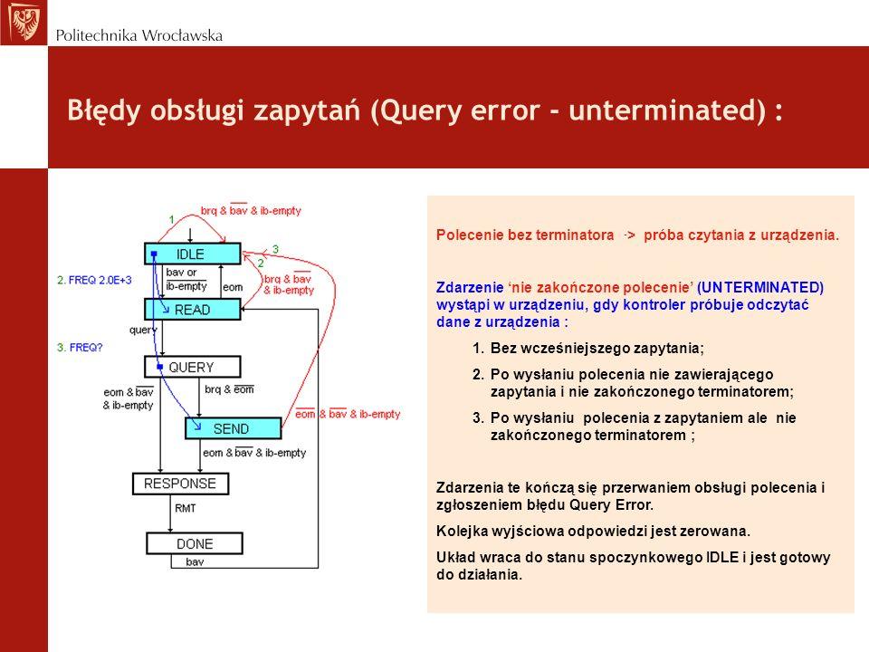 Błędy obsługi zapytań (Query error - unterminated) : Polecenie bez terminatora - > próba czytania z urządzenia. Zdarzenie nie zakończone polecenie (UN