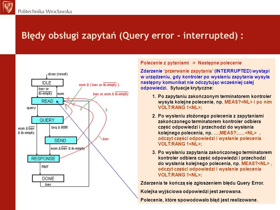 Błędy obsługi zapytań (Query error - interrupted) : Polecenie z pytaniami - > Następne polecenie Zdarzenie przerwanie zapytania (INTERRUPTED) wystąpi