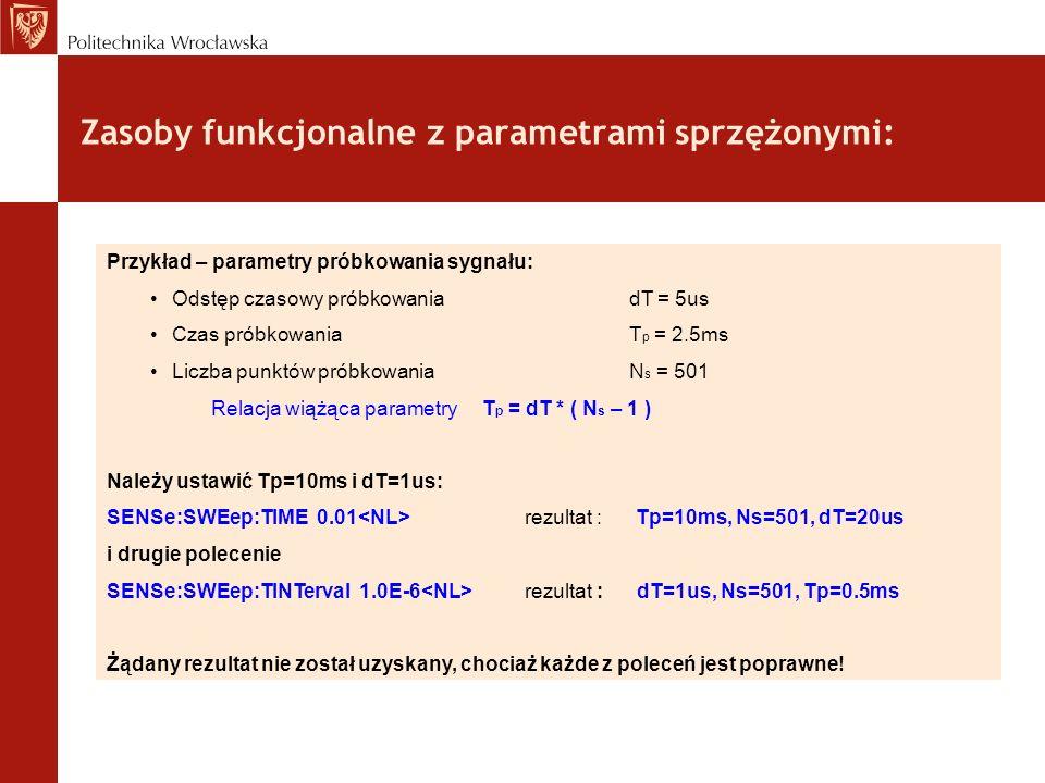 Zasoby funkcjonalne z parametrami sprzężonymi: Przykład – parametry próbkowania sygnału: Odstęp czasowy próbkowania dT = 5us Czas próbkowaniaT p = 2.5