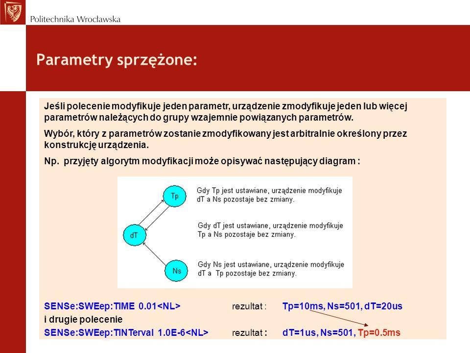 Parametry sprzężone: Jeśli polecenie modyfikuje jeden parametr, urządzenie zmodyfikuje jeden lub więcej parametrów należących do grupy wzajemnie powią