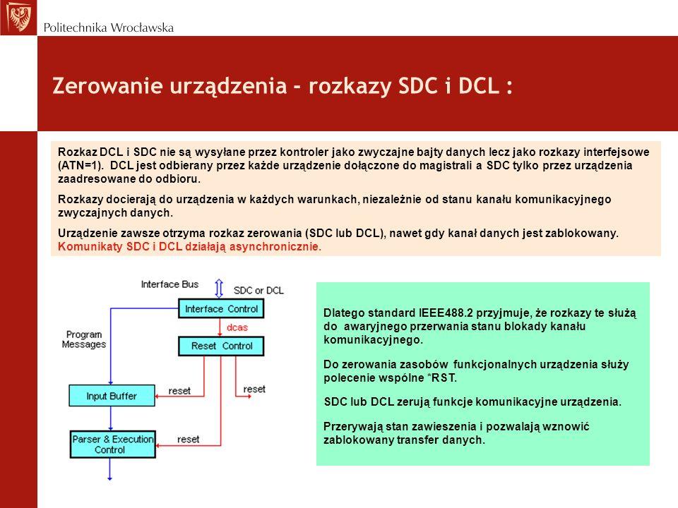 Zerowanie urządzenia - rozkazy SDC i DCL : Dlatego standard IEEE488.2 przyjmuje, że rozkazy te służą do awaryjnego przerwania stanu blokady kanału kom