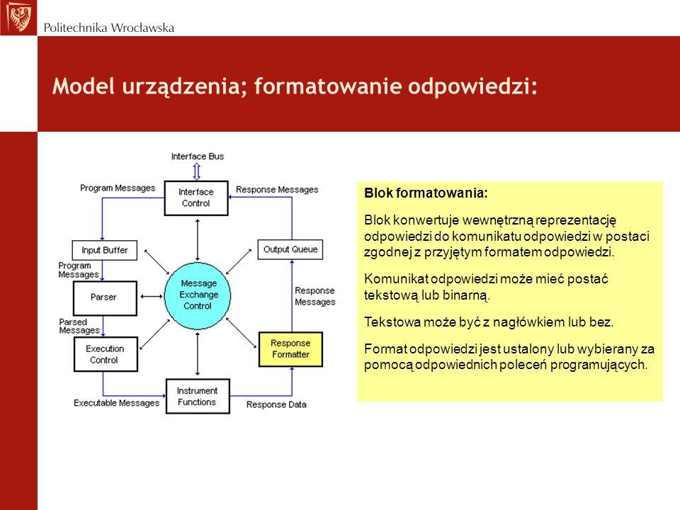 Model urządzenia; formatowanie odpowiedzi: Blok formatowania: Blok konwertuje wewnętrzną reprezentację odpowiedzi do komunikatu odpowiedzi w postaci z