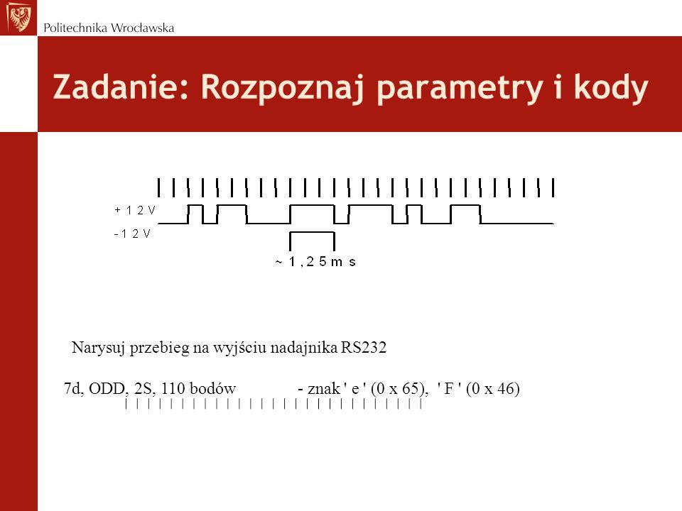 Zadanie: Rozpoznaj parametry i kody Narysuj przebieg na wyjściu nadajnika RS232 7d, ODD, 2S, 110 bodów- znak e (0 x 65), F (0 x 46)