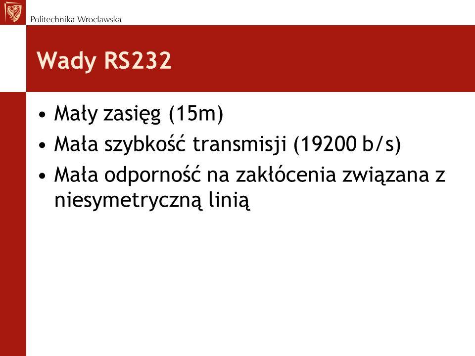 Wady RS232 Mały zasięg (15m) Mała szybkość transmisji (19200 b/s) Mała odporność na zakłócenia związana z niesymetryczną linią
