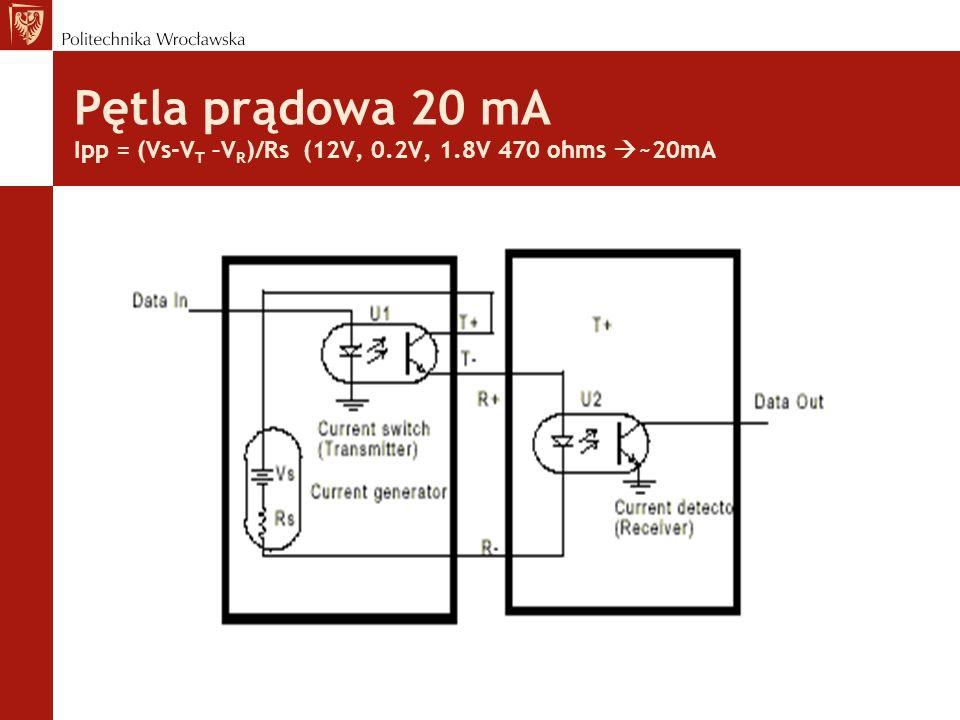 Pętla prądowa 20 mA Ipp = (Vs-V T –V R )/Rs (12V, 0.2V, 1.8V 470 ohms ~20mA