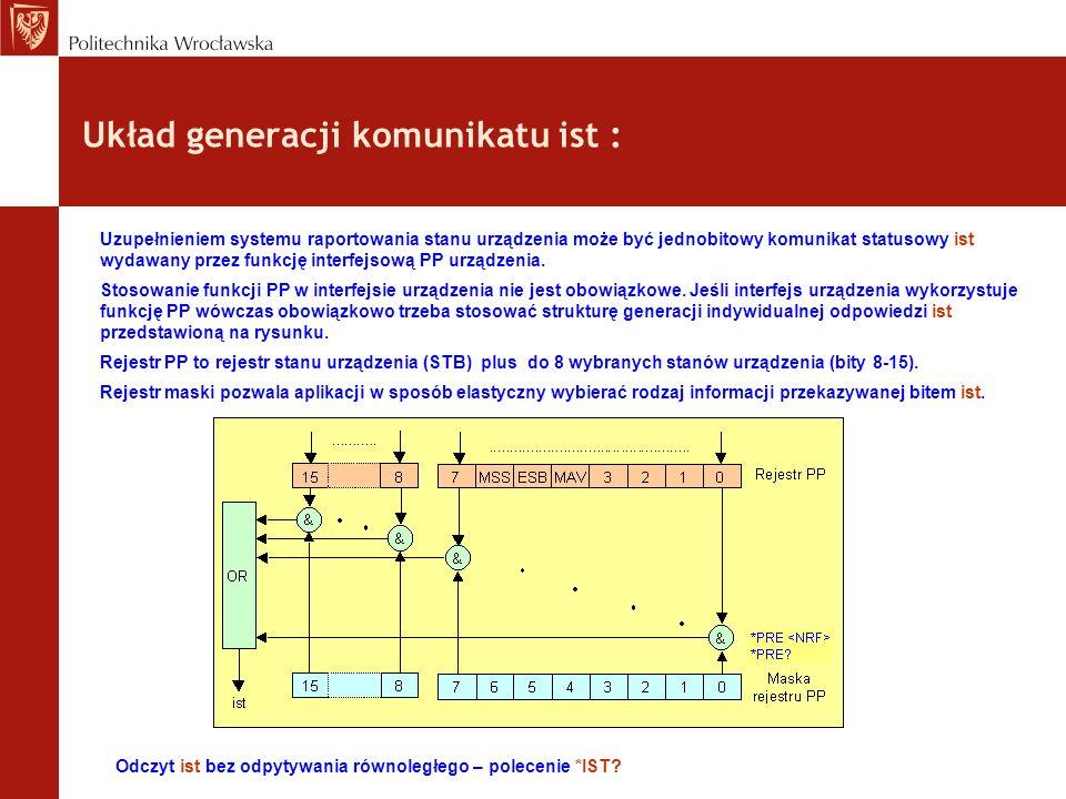 Układ generacji komunikatu ist : Uzupełnieniem systemu raportowania stanu urządzenia może być jednobitowy komunikat statusowy ist wydawany przez funkcję interfejsową PP urządzenia.