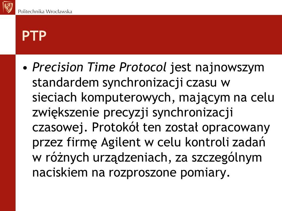 PTP Precision Time Protocol jest najnowszym standardem synchronizacji czasu w sieciach komputerowych, mającym na celu zwiększenie precyzji synchronizacji czasowej.