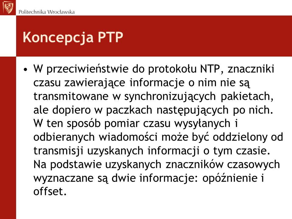 Koncepcja PTP W przeciwieństwie do protokołu NTP, znaczniki czasu zawierające informacje o nim nie są transmitowane w synchronizujących pakietach, ale dopiero w paczkach następujących po nich.