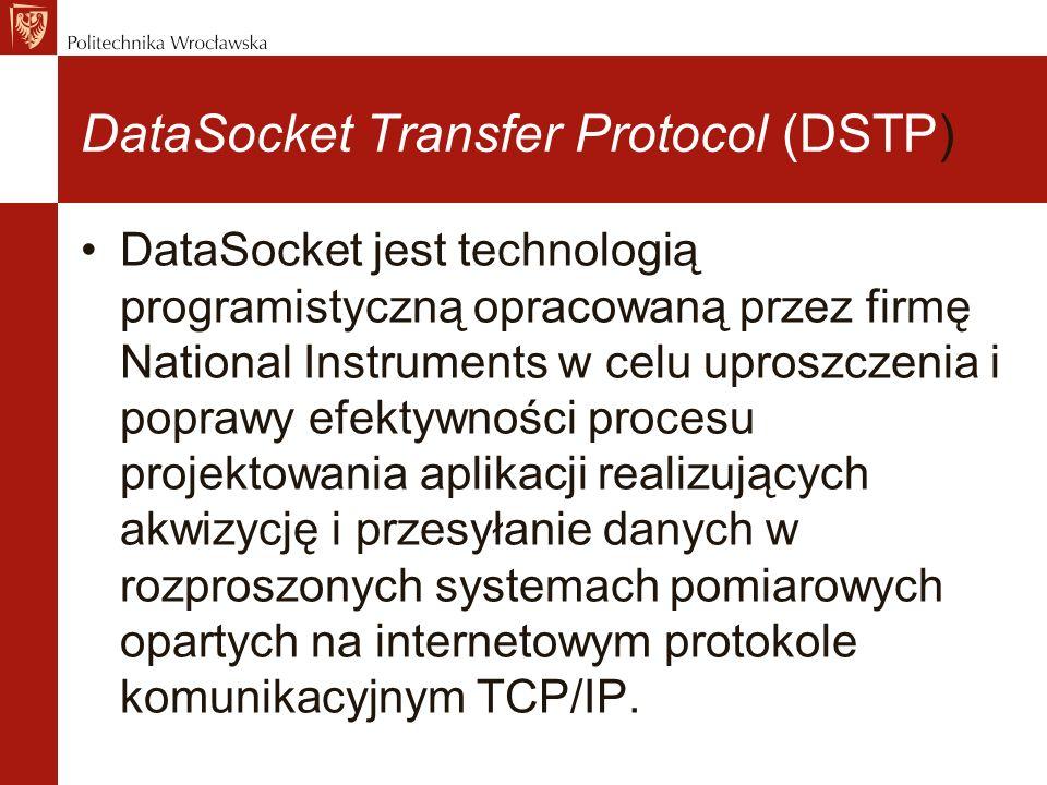 DataSocket Transfer Protocol (DSTP) DataSocket jest technologią programistyczną opracowaną przez firmę National Instruments w celu uproszczenia i poprawy efektywności procesu projektowania aplikacji realizujących akwizycję i przesyłanie danych w rozproszonych systemach pomiarowych opartych na internetowym protokole komunikacyjnym TCP/IP.
