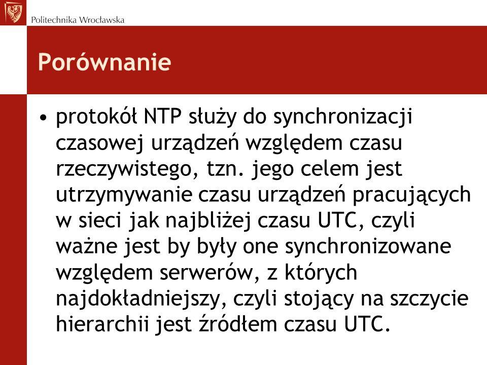 Porównanie protokół NTP służy do synchronizacji czasowej urządzeń względem czasu rzeczywistego, tzn. jego celem jest utrzymywanie czasu urządzeń pracu