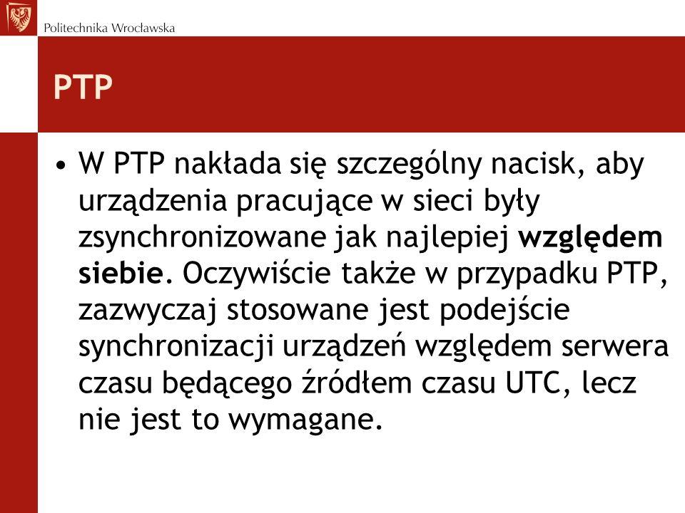 PTP W PTP nakłada się szczególny nacisk, aby urządzenia pracujące w sieci były zsynchronizowane jak najlepiej względem siebie. Oczywiście także w przy