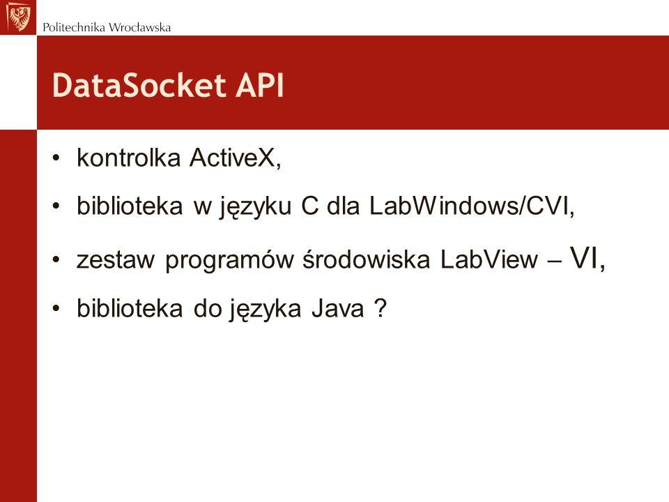 DataSocket API kontrolka ActiveX, biblioteka w języku C dla LabWindows/CVI, zestaw programów środowiska LabView – VI, biblioteka do języka Java ?
