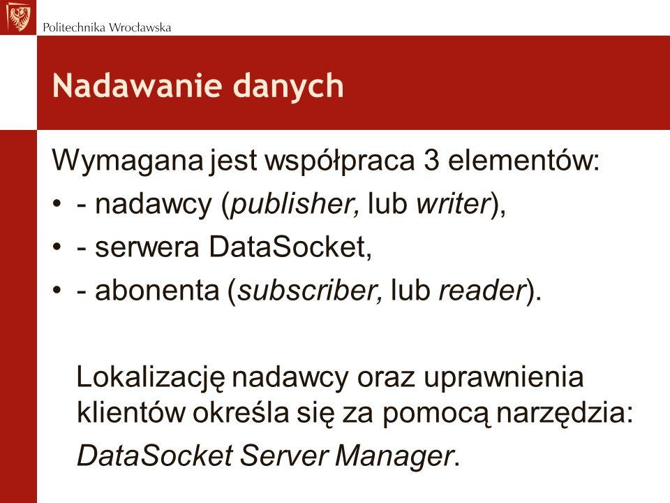 Nadawanie danych Wymagana jest współpraca 3 elementów: - nadawcy (publisher, lub writer), - serwera DataSocket, - abonenta (subscriber, lub reader).