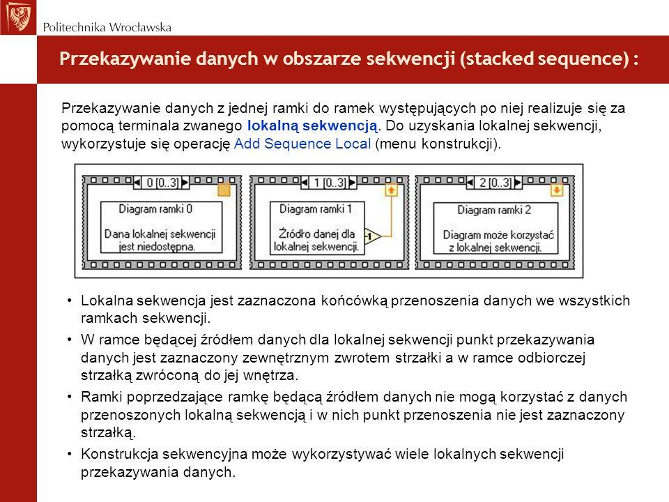 Przekazywanie danych w obszarze sekwencji (stacked sequence) : Lokalna sekwencja jest zaznaczona końcówką przenoszenia danych we wszystkich ramkach se