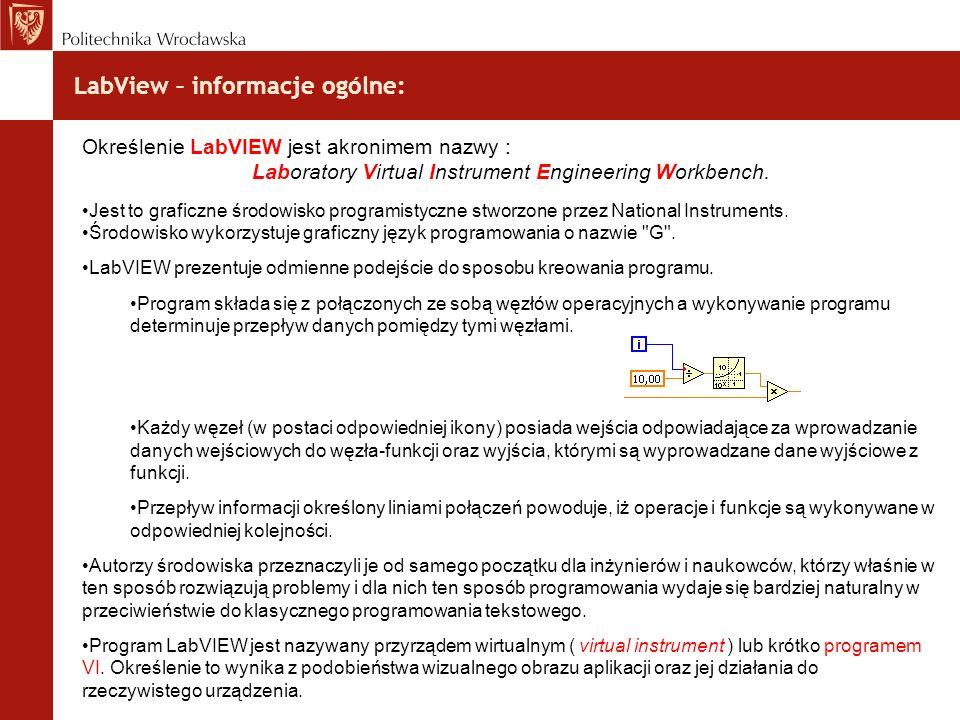 LabView – informacje ogólne: Określenie LabVIEW jest akronimem nazwy : Laboratory Virtual Instrument Engineering Workbench. Jest to graficzne środowis