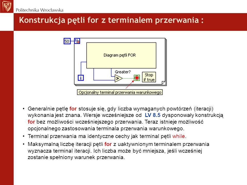 Konstrukcja pętli for z terminalem przerwania : Generalnie pętlę for stosuje się, gdy liczba wymaganych powtórzeń (iteracji) wykonania jest znana. Wer