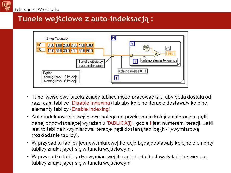Tunele wejściowe z auto-indeksacją : Tunel wejściowy przekazujący tablice może pracować tak, aby pętla dostała od razu całą tablicę (Disable Indexing)
