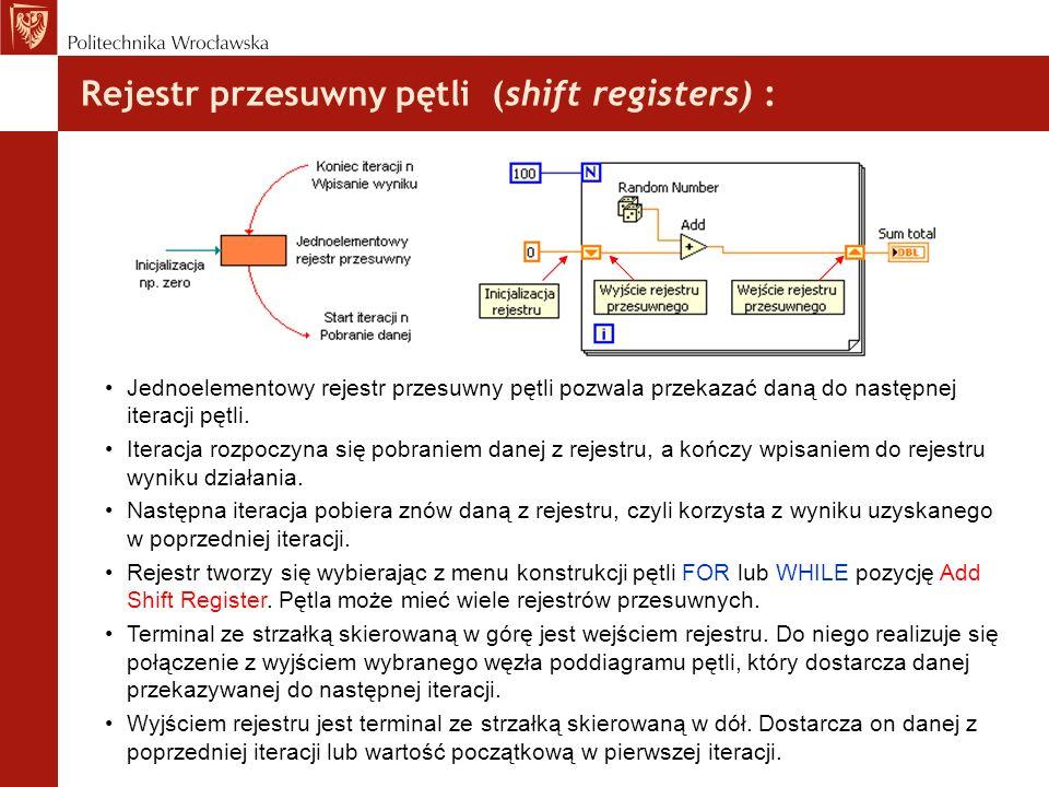 Rejestr przesuwny pętli (shift registers) : Jednoelementowy rejestr przesuwny pętli pozwala przekazać daną do następnej iteracji pętli. Iteracja rozpo