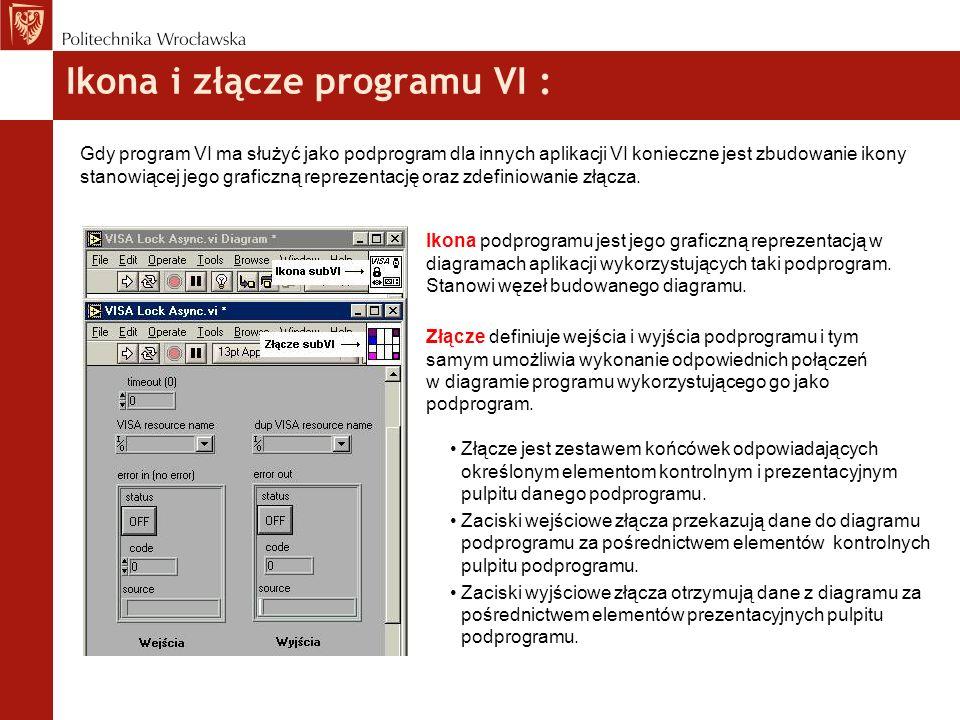 Ikona i złącze programu VI : Gdy program VI ma służyć jako podprogram dla innych aplikacji VI konieczne jest zbudowanie ikony stanowiącej jego graficz