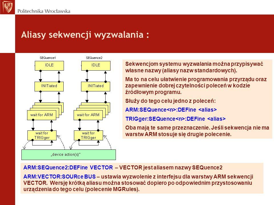 Aliasy sekwencji wyzwalania : Sekwencjom systemu wyzwalania można przypisywać własne nazwy (aliasy nazw standardowych). Ma to na celu ułatwienie progr
