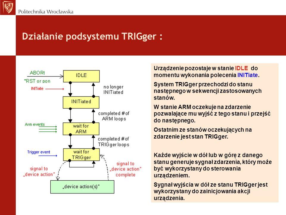 Działanie podsystemu TRIGger : Urządzenie pozostaje w stanie IDLE do momentu wykonania polecenia INITiate. System TRIGger przechodzi do stanu następne