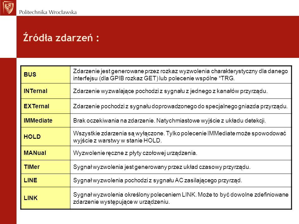 Źródła zdarzeń : BUS Zdarzenie jest generowane przez rozkaz wyzwolenia charakterystyczny dla danego interfejsu (dla GPIB rozkaz GET) lub polecenie wsp