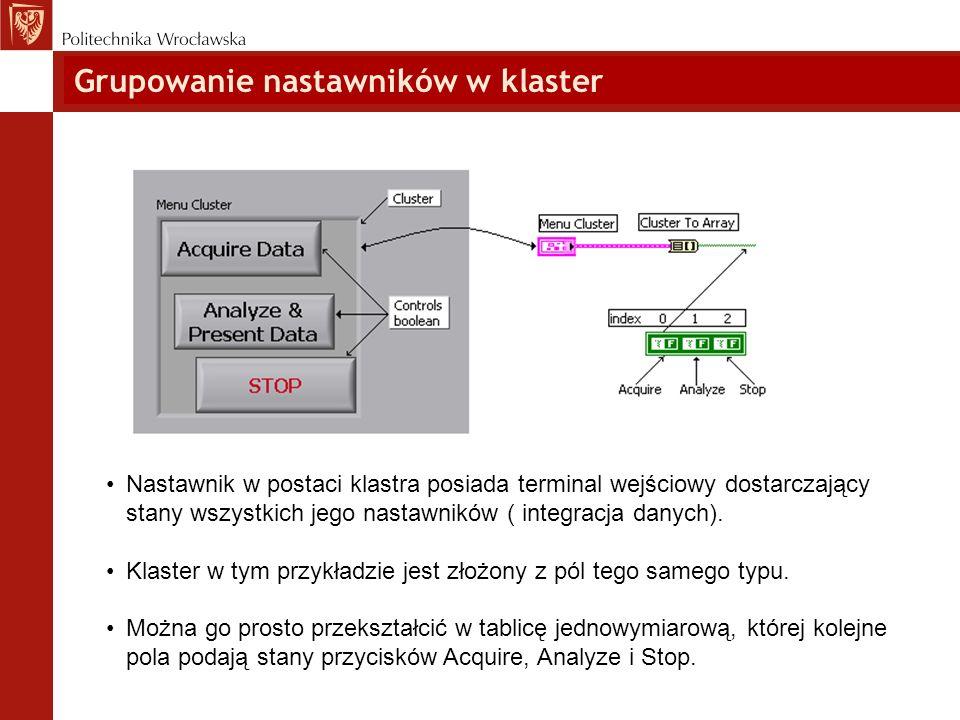 Grupowanie nastawników w klaster Nastawnik w postaci klastra posiada terminal wejściowy dostarczający stany wszystkich jego nastawników ( integracja d