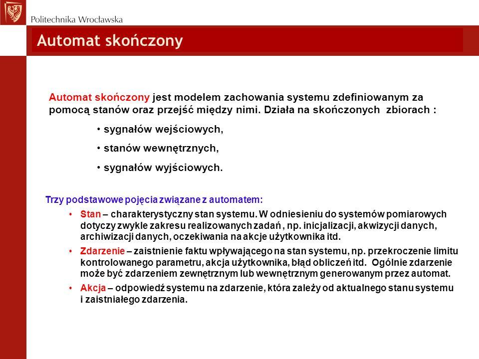 Automat skończony Trzy podstawowe pojęcia związane z automatem: Stan – charakterystyczny stan systemu. W odniesieniu do systemów pomiarowych dotyczy z