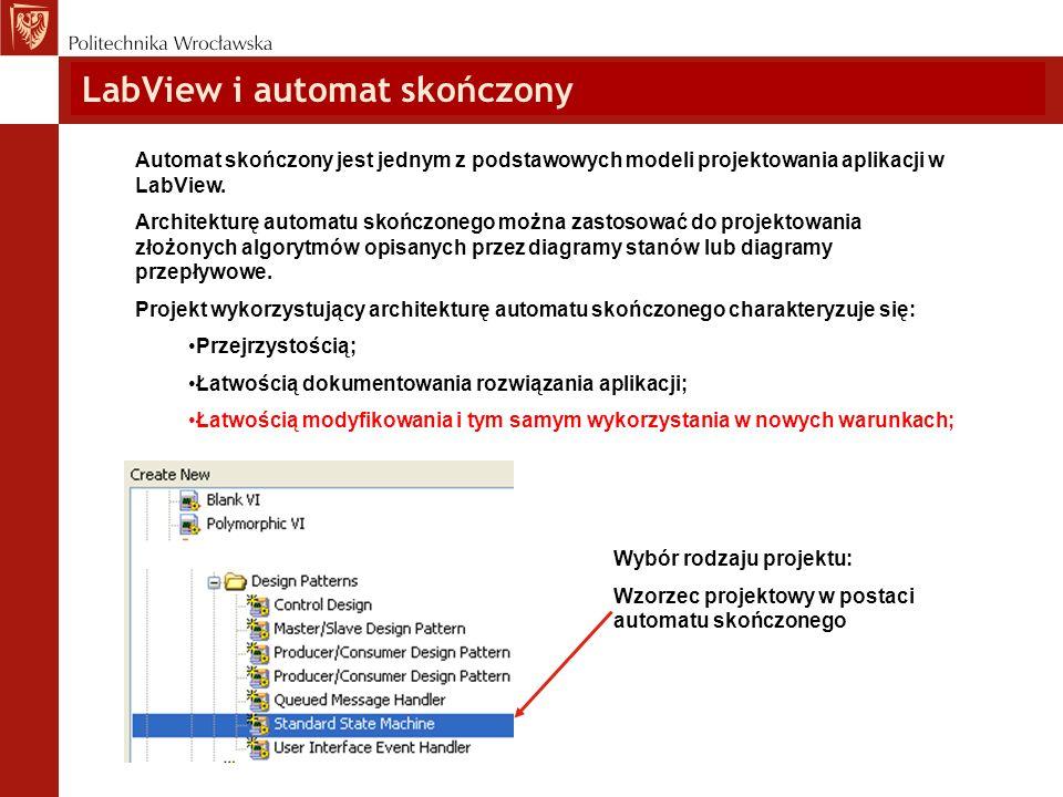 Automat skończony jest jednym z podstawowych modeli projektowania aplikacji w LabView. Architekturę automatu skończonego można zastosować do projektow