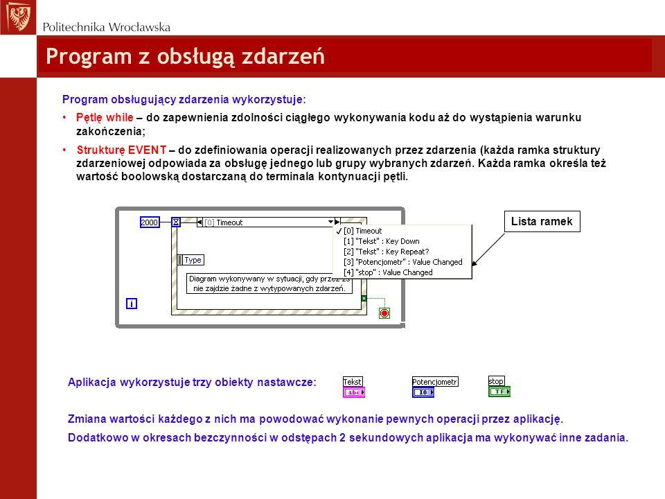 Program z obsługą zdarzeń Program obsługujący zdarzenia wykorzystuje: Pętlę while – do zapewnienia zdolności ciągłego wykonywania kodu aż do wystąpien