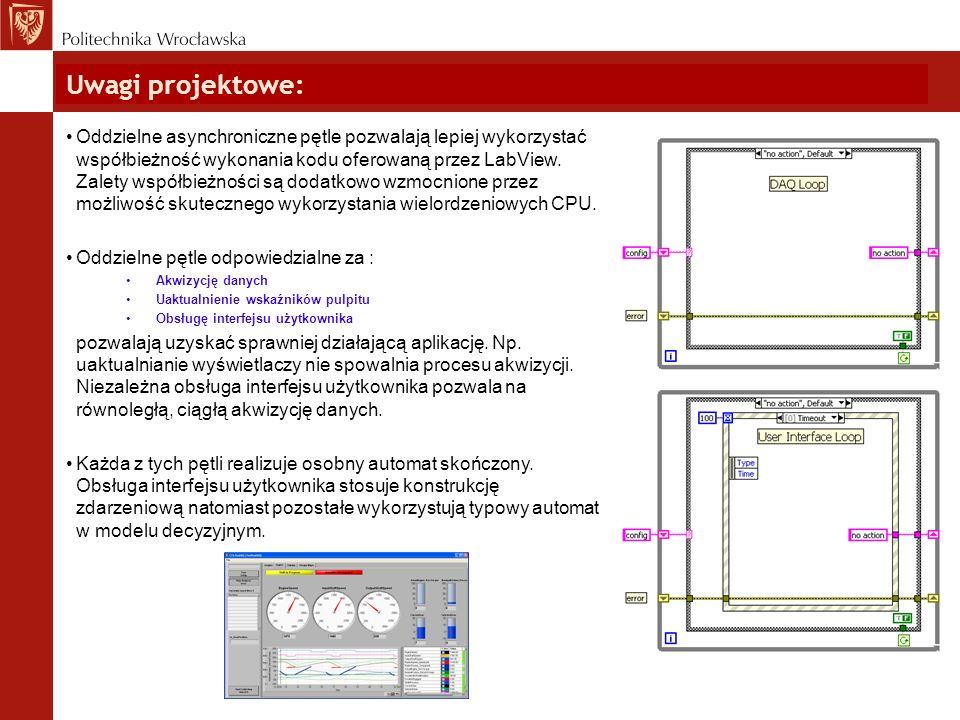 Uwagi projektowe: Oddzielne asynchroniczne pętle pozwalają lepiej wykorzystać współbieżność wykonania kodu oferowaną przez LabView. Zalety współbieżno