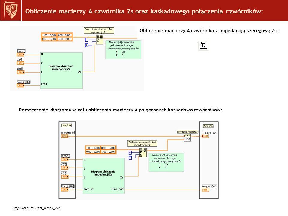 Obliczenie macierzy A czwórnika Zs oraz kaskadowego połączenia czwórników: Rozszerzenie diagramu w celu obliczenia macierzy A połączonych kaskadowo czwórników: Obliczenie macierzy A czwórnika z impedancją szeregową Zs : Przykład: subvi/test_matrix_A.vi