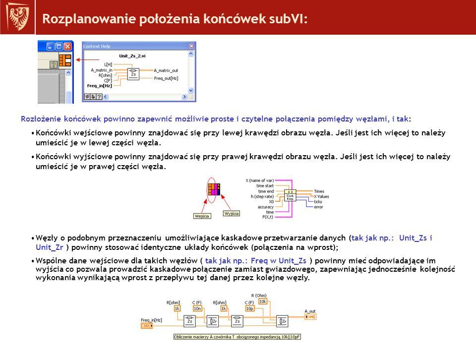 Rozplanowanie położenia końcówek subVI: Rozłożenie końcówek powinno zapewnić możliwie proste i czytelne połączenia pomiędzy węzłami, i tak: Końcówki wejściowe powinny znajdować się przy lewej krawędzi obrazu węzła.