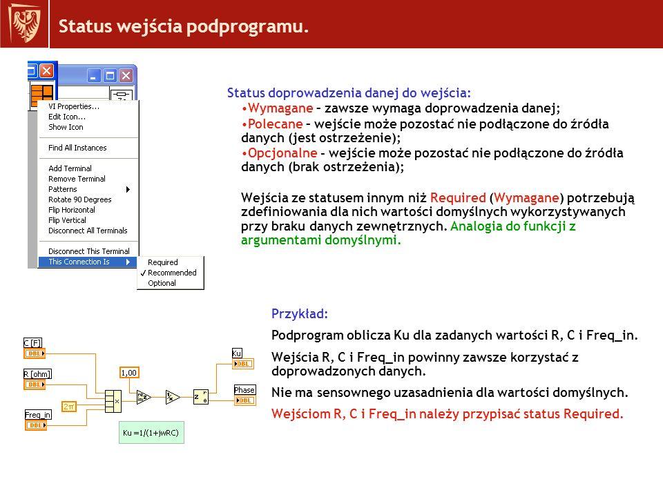 Przykład projektu subVI : Obliczenie transmitancji kaskadowego układu czwórników z wykorzystaniem macierzy A.