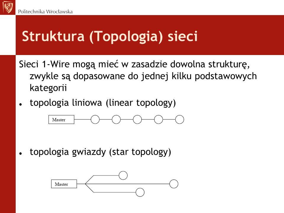 Struktura (Topologia) sieci Sieci 1-Wire mogą mieć w zasadzie dowolna strukturę, zwykle są dopasowane do jednej kilku podstawowych kategorii topologia