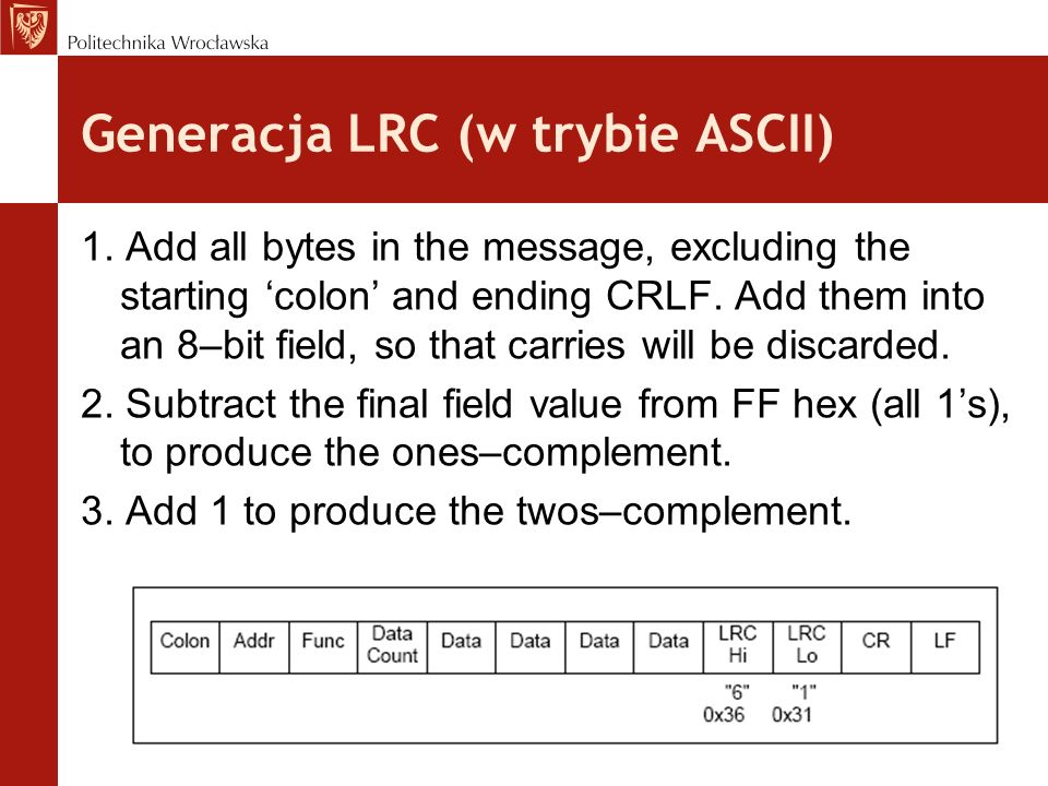 Generacja LRC (w trybie ASCII) 1. Add all bytes in the message, excluding the starting colon and ending CRLF. Add them into an 8–bit field, so that ca