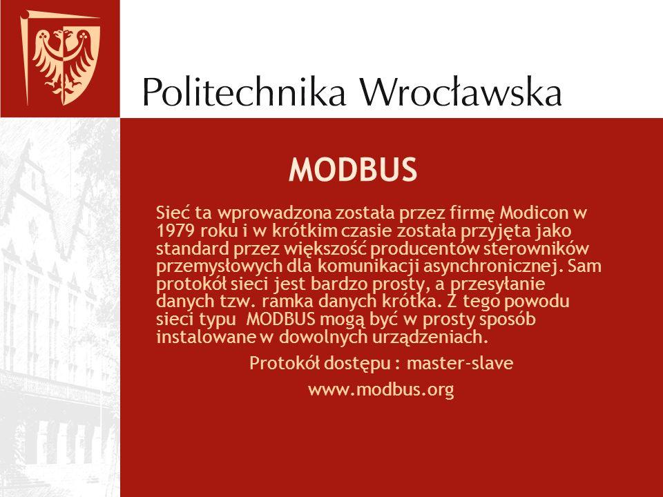 MODBUS Sieć ta wprowadzona została przez firmę Modicon w 1979 roku i w krótkim czasie została przyjęta jako standard przez większość producentów stero