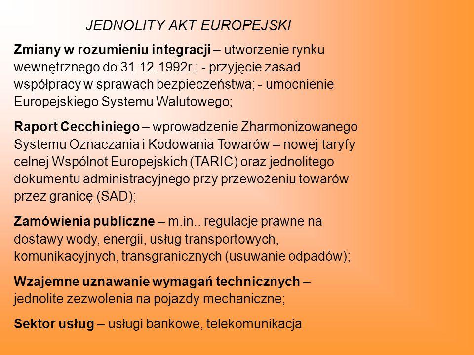 TRAKTAT O UNII EUROPEJSKIEJ Najważniejsze postanowienia Traktatu UE – podpisany w lutym 1992r.