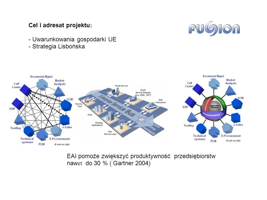 EAI pomoże zwiększyć produktywność przedsiębiorstw naw et do 30 % ( Gartner 2004) Cel i adresat projektu : - Uwarunkowania gospodarki UE - Strategia Lisbońska