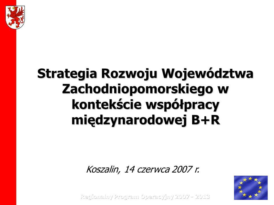 Strategia Rozwoju Województwa Zachodniopomorskiego do 2020 roku Jest punktem odniesienia do wszelkich działań rozwojowych na terenie województwa wspierających procesy rozwojowe regionu Jest podstawą do przygotowania regionalnego programu operacyjnego, strategii sektorowych, długofalowych planów określających kierunki działań i pozostałych dokumentów politycznych i programowych na poziomie województwa.