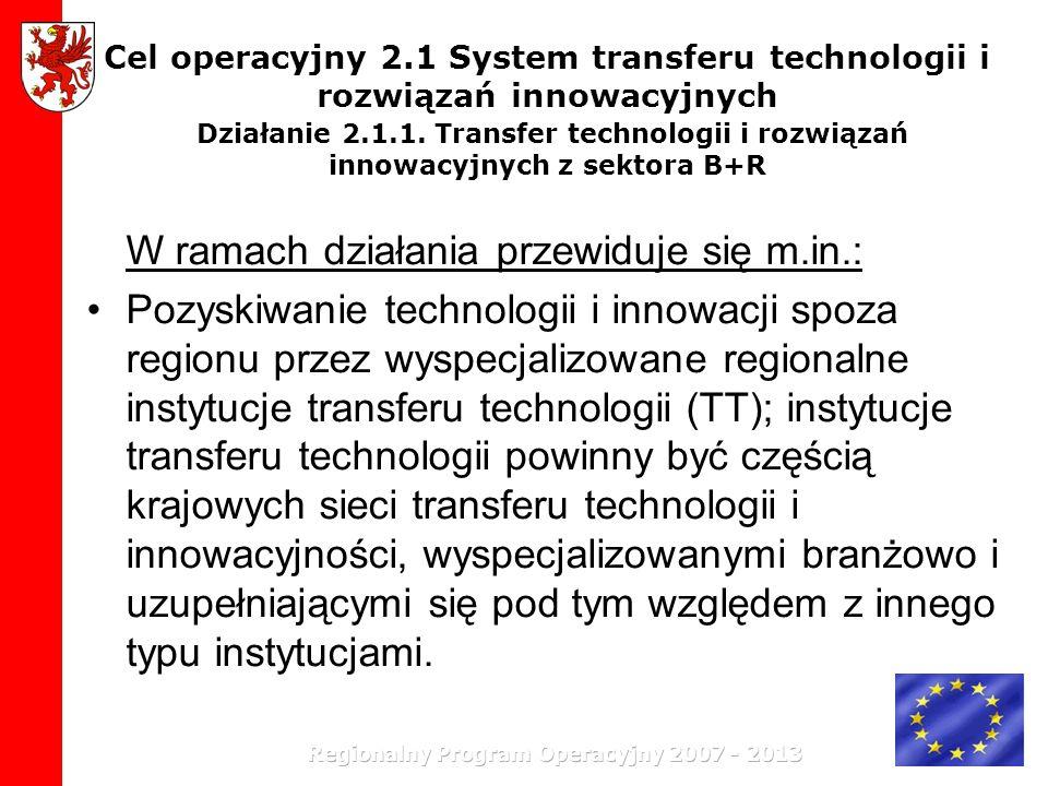 Cel operacyjny 2.1 System transferu technologii i rozwiązań innowacyjnych Działanie 2.1.1. Transfer technologii i rozwiązań innowacyjnych z sektora B+